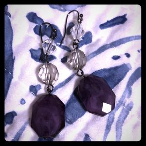 Dangle earrings with purple and clear beads